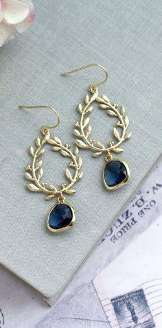 Laurel Wreath Earring Dark Blue Earring Something Blue Sapphire Blue Chandelier Earrings Navy Wedding Bridesmaid Gift Gold and Navy Wedding by MAROLSHA - https://www.etsy.com/listing/246001302/laurel-wreath-earring-dark-blue-earring?ga_search_query=blue&ref=shop_items_search_34