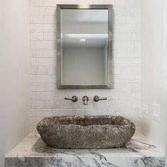 Marble Sink Vanity with Concrete Sink