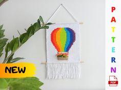 Wall hanging hot air balloon crochet PATTERN crochet nursery | Etsy Balloon Wall, Air Balloon, Balloons, Crochet Dinosaur, Crochet Unicorn, Crochet Tutorial, Yarn Wall Art, Crochet Wall Hangings, Yarn Thread