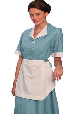 Ed Garments Junior Cord Housekeeping Dress-Dark Grey-A Kellner Uniform, Housekeeping Uniform, Maid Uniform, School Uniform, Office Skirt, Work Skirts, Maid Dress, Contrast Collar, Suits For Women