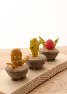 Three Miniature Potted Plants on wood base by LaDetallista on Etsy