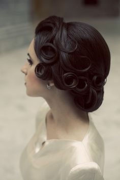 Beautiful pin curls. | vintage bride | bridal hair | wedding hair styles | brunette hair | updo