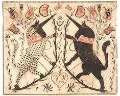 American folk art illustration of unicorns. Unicorn Art, Medieval Art, Renaissance Art, Outsider Art, Art And Illustration, Cat Illustrations, Mythical Creatures, Fantasy Creatures, Fine Art Paper