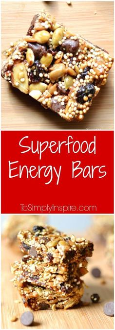 Diet Snacks These yummy superfood energy bars are packed full of nutrients and sweetened with honey and just a little touch of chocolate. - These yummy energy bars are packed full of nutrients and sweetened with honey and just a little touch of chocolate. Healthy Bars, Healthy Sweets, Healthy Baking, Healthy Snacks, Breakfast Healthy, Healthy Drinks, Breakfast Bars, Diet Snacks, Healthy Energy Foods