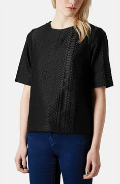Topshop Snakeskin Jacquard Top available at #Nordstrom