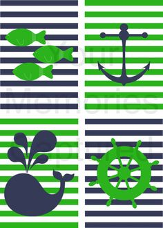 Anchor Wheel Whale and Fish Nautical Kids by YourMemoriesCaptured, $12.00