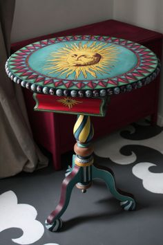 LOVE LOVE LOVE!!!!! Fortune Teller Gypsy Table Hand Made Hand Painted Lockable Drawers Post Worldwide by ShabbyChiffonier on Etsy