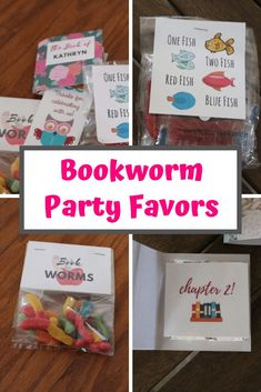 "These bookworm party favor ideas and printables feature: gummy worm ""bookworms,"" Dr. Seuss inspired ""Red fish,"" and book party favors made out of Hershey's chocolates.  #birthdayideas #bookworm #bookparty #libraryparty #bookthemedparty #bookworms"