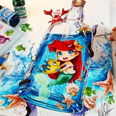Painting the Ocean and Sea themes means a lot for me. I grew up near the sea. Every time I visit my parents at my old home i am really happy if we visit the Ocean ^_^ ♡♡♡ So my Ariel in the bottle Illustration is finished. Tools: Dr PH Martin's concentrated watercolors, Faber Castell Polychromos, opaque white, canson mi teintes watercolor paper