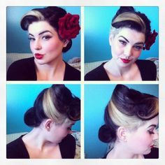 Image result for rockabilly hair with streaks