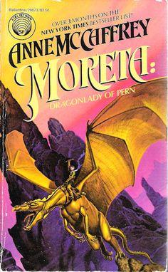 Publication: Moreta: Dragonlady of Pern  Authors: Anne McCaffrey Year: 1984-10-00 ISBN: 0-345-29873-X [978-0-345-29873-7] Publisher: Del Rey / Ballantine Cover: Michael Whelan