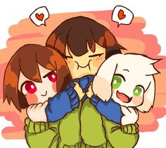 Frisk: I have the two COOLEST  sibings in the universe! Chara: Heh, thanks Frisk... Asriel: Awe golly Frisk!
