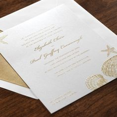 Golden Sea Shell Invitation eInvite Wedding Wedding Invitations Destination & Seasonal