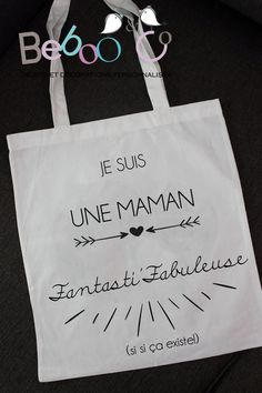 "Sac ""Tote bag"" en coton blanc ""Maman Fantasti'fabuleuse"""