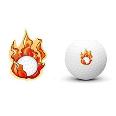 Golf Ball Transcription Sticker Marker Fire Ball Design Sports Funny Tattoo  #Unbranded