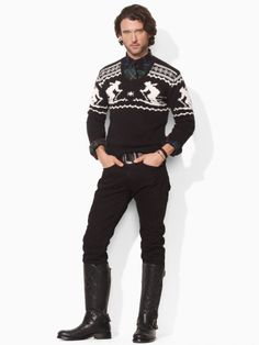 Nordic print sweater for dad: Polo Ralph Lauren V Neck Intarsia Sweater, $195 at Macys