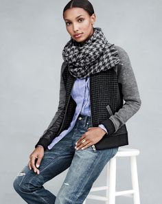 Farb-und Stilberatung mit www.farben-reich.com - J.Crew women's leather-trim mixed bomber jacket, Point Sur denim, scarf, and curved tag ring.