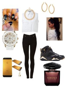 """""""black gold and white"""" by iamchania ❤ liked on Polyvore featuring KIMEM, Cheap Monday, MOOD, ASOS and Versace"""
