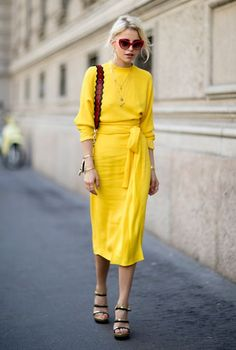 :yellow wrap dress