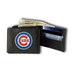 Chicago Cubs Embroidered Leather Trifold Wallet by Rico. $24.99. Compartment for cash. Embroidered team logo. 6 slots for cards. Slot for your drivers license and more. Genuine leather. A perfect gift for yourself or your favorite sports fan! The team's logo is embroidered onto the front of the wallet. The wallet is made of genuine leather and will last for years! Inside you'll find a compartment for cash, 6 slots for cards, a slot for your drivers license, 3 inner compartment...