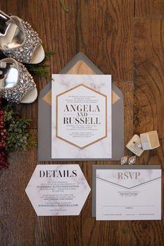 ANGELA Suite Fancy Geometric Package, industrial wedding ideas, modern wedding invitations, die cut, foil, marble, wood veneer, featured in Wedding Day Magazine!