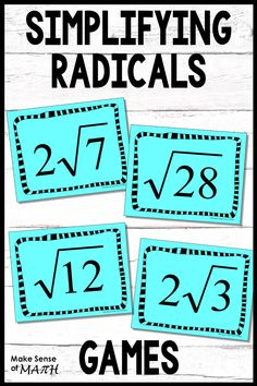 Engaging and fun way to practice simplifying radicals. These task cards include activities and games which are perfect to help with fluency. These work great for stations, openers, exit slips, games, and more. Fun Math Activities, Math Games, Algebra Games, Math Math, Algebra 1, Math Fractions, Seventh Grade Math, 8th Grade Math, Simplifying Radicals
