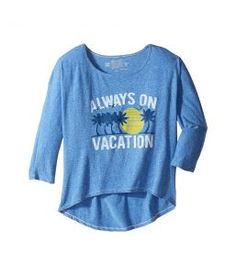 The Original Retro Brand Kids Always On Vacation 3/4 Dolman Pullover Tee (Big Kids) (Streaky Royal) Girl's T Shirt