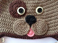 Cara Perrito a Crochet Patrón Gratis en Español para usar en Amigurumi (Es un patrón de Gorro para 2años) Idea ojos: Usar 2 botones de diferentes colores y tamaño.