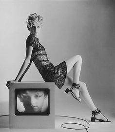 Twiggy is wearing Yves Saint Laurent, 1967, photographed by Bert Stern