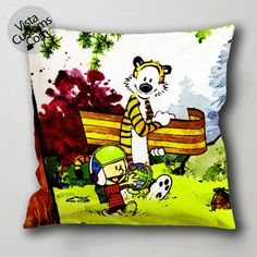 calvin and hobbes (2) pillow case, cushion cover ( 1 or 2 Side Print With Size 16, 18, 20, 26, 30, 36 inch )