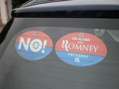 """Quantity 2 - PLASTIC HANGING CAR WINDOW SIGNS - COMBO PACK - 1 ANTI OBAMA NOBAMA """"NO!"""" & 1 """"ON BOARD WITH ROMNEY"""" 4""""x6"""" OVAL (gop republican sticker decal) by OnBoardWith.com by OnBoardWith.com, http://www.amazon.com/dp/B008A9T3ME/ref=cm_sw_r_pi_dp_UlYlqb19KFW4D"""
