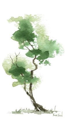 Little Zen Tree 172 Art Print by Sean Seal. All prints are professionally printed, packaged, and shipped within 3 - 4 business days. Choose from multiple sizes and hundreds of frame and mat options. Watercolor Tattoo Tree, Tree Watercolor Painting, Watercolor Landscape, Abstract Watercolor, Watercolor Illustration, Watercolor Flowers, Landscape Paintings, Simple Watercolor, Watercolor Animals