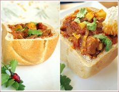 South African Bunny Chow Recipe ~ made with 1/2 or 1/4 loaf of fresh bread, scoop out centre and fill with curry or stew.