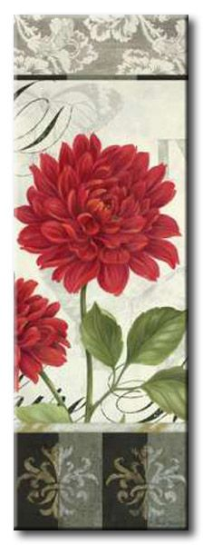 GlA_524_Etude en Rouge Panel I / Cuadro Flores, Panel Vintage con Flor Roja