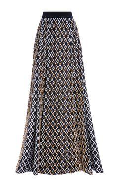 Shop Diamond Print Silk Embroidered Long Skirt by Fausto Puglisi for Preorder on Moda Operandi