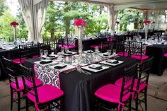 Black white and pink wedding
