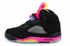 online store 52d73 bd3d9 Cheap Young Big Boys Air Jordan V 5 Black Black Bright Citrus Fusion Pink  440892 067