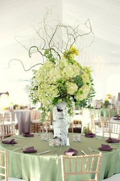 Love the moss green & purple colors with gold ACCENTS for a 50th wedding anniversary party.