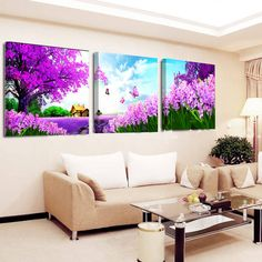 Unframed Wall Art Canvas Painting 3pcs Romantic Lavender Sea Classical Landscape Wall Pictures For Living Room Modular Pictures