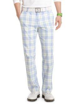 Izod Golf  Flat Front Fancy Plaid Pants