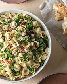 Sun-Dried Tomato and Broccolini Pasta Salad Pasta Salad Ingredients, Creamy Pasta Salads, Pasta Salad Recipes, Rigatoni Recipes, Roasted Broccolini, Fresh Mozzarella, Dried Tomatoes, Sun Dried, Food Processor Recipes