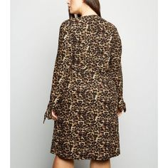 61354166475 Blue Vanilla Curves Brown Leopard Print Soft Touch Dress New Look