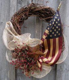 Americana Patriotic Summer Celebration Wreath by Pro Celebrations.