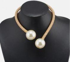 Collier ouvert orné perles Blanc&Doré pas cher