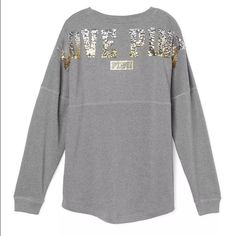 """Grey varsity bling crew Brand new in the package. Grey varsity """"love pink"""" blink crew neck . Over size. With the dog logo in the front. ✔️Mercari available   PLEASE NO RUDE COMMENTS ONLY COMMENT IF YOU'RE INTERESTED    ❌PRICE IS FIRM  ❌SERIOUS BUYERS ONLY                            ❌NO TRADES PINK Victoria's Secret Sweaters Crew & Scoop Necks"""