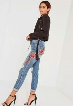 Look fierce in florals and add a touch of romance to your new season wardrobe in this perfect pair of mom style jeans. I am distressed, so over time I will become more ripped and worn, but that's cool because that's the look we're . Ripped Mom Jeans, Red Jeans, Jeans Fit, High Waist Jeans, Jeans Style, Boyfriend Jeans, Skinny Jeans, High End Clothing Brands, Latest Fashion For Women