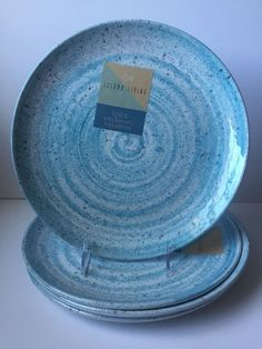 Island Living Dinner Plates Blue Speckled S/4 Melamine Indoor/Outdoor Durable : blue melamine dinnerware - pezcame.com