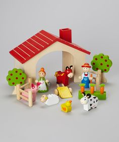 Look at this Wooden Farm Play Set on #zulily today!