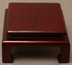 Asian square brown wood display stand