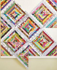 Kaleidoscope Quilt  Tutorial:  http://filminthefridge.com/2009/04/27/a-string-quilt-block-tutorial-paper-pieced-method/